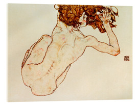 Acrylic print  Crouching nude, back view - Egon Schiele