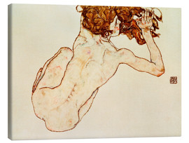 Canvas print  Crouching nude, back view - Egon Schiele