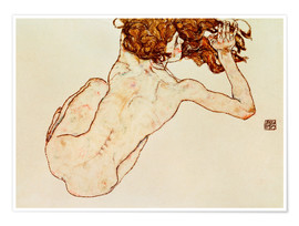 Poster  Crouching nude, back view - Egon Schiele