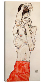 Canvas  Male nude, standing, with red loincloth - Egon Schiele