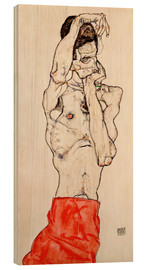 Wood print  Male nude, standing, with red loincloth - Egon Schiele