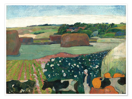 Premium poster  Haystacks in Brittany - Paul Gauguin