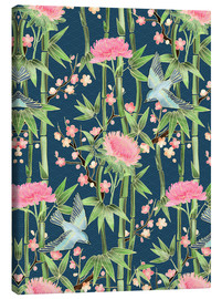 Canvas print  bamboo birds and blossoms on teal - Micklyn Le Feuvre