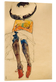 Acrylic print  Nude with hat - Egon Schiele