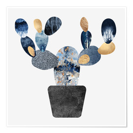 Premium poster  Blue And Gold Cactus - Elisabeth Fredriksson
