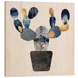 Wood print  Blue And Gold Cactus - Elisabeth Fredriksson