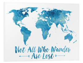 Foam board print  Not all who wander are lost map (blue) - Mod Pop Deco