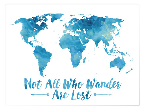 Premium poster Not all who wander are lost map (blue)