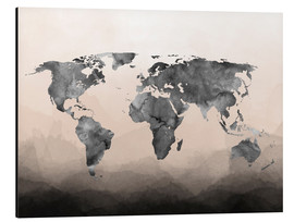 Aluminium print  Charcoal world map - Mod Pop Deco