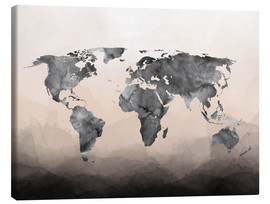 Canvas  Charcoal world map - Mod Pop Deco