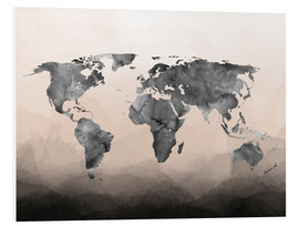 Foam board print  Charcoal world map - Mod Pop Deco