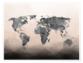 Premium poster Charcoal world map