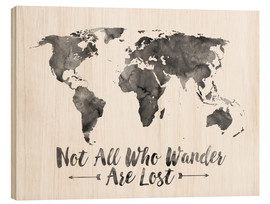 Wood print  Watercolor World Map - Mod Pop Deco
