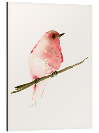 Aluminium print  Rasberry red bird - Dearpumpernickel