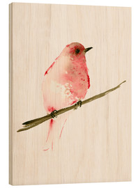 Wood print  Rasberry red bird - Dearpumpernickel