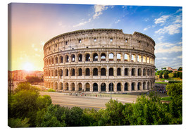 Canvas  Coliseum in Rome Italy at sunset - Jan Christopher Becke