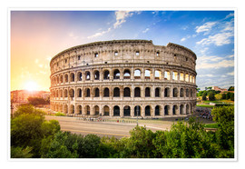 Premium poster  Colosseum at sunset in Rome, Italy - Jan Christopher Becke