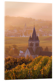 Acrylic print  Church and vineyards near Ville Dommange in Champagne, France - Matteo Colombo