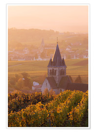 Premium poster Church and vineyards near Ville Dommange in Champagne, France