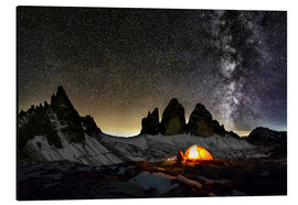 Aluminium print  Loneley camper with Milky Way at Dolomites - Dieter Meyrl