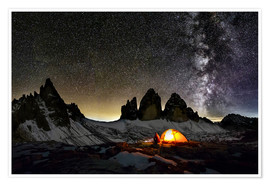 Premium poster Loneley camper with Milky Way at Dolomites