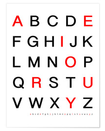 Premium poster  Alphabet in black and red - Finlay and Noa