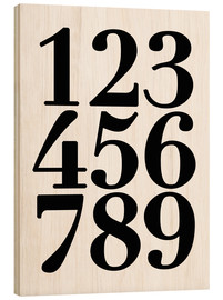 Wood print  Enumerated! The numbers 1 - 9 - Finlay and Noa