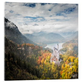 Acrylic glass  Neuschwanstein Castle at Autumn - Dieter Meyrl