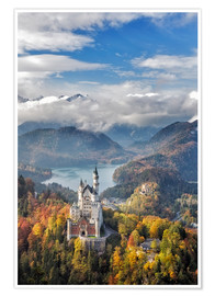 Premium poster Neuschwanstein Castle at Autumn