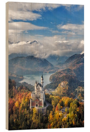 Wood print  Neuschwanstein Castle at Autumn - Dieter Meyrl