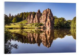 Acrylic print  Rocks with reflection in the lake - Michael Valjak