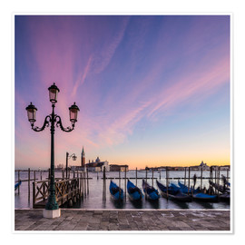 Premium poster  Gondolas in Venice during sunrise - Dieter Meyrl