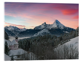 Acrylic print  Alpenglow in Bavarian Alps with Watzmann - Dieter Meyrl
