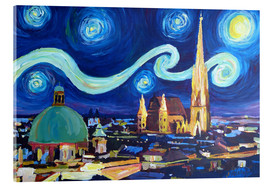 Acrylic glass  Starry Night in Vienna Austria   Saint Stephan Cathedral Van Gogh Inspirations - M. Bleichner