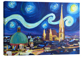Canvas print  Starry Night in Vienna Austria   Saint Stephan Cathedral Van Gogh Inspirations - M. Bleichner