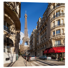 Acrylic print  Sidewalk cafe in Paris with Eiffel Tower in background - Jan Christopher Becke