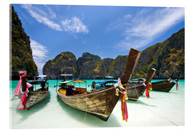 Acrylic print  Long tail boat at Maya Bay, PhiPhi