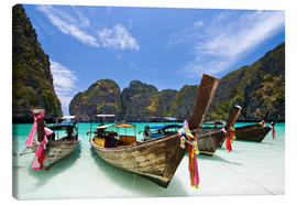 Canvas print  Long tail boat at Maya Bay, PhiPhi
