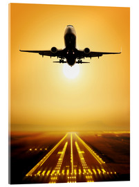 Acrylic print  Start a passenger plane in the sunset