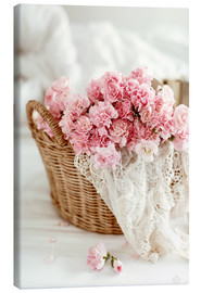 Canvas print  Pink pastel flowers in wicker basket