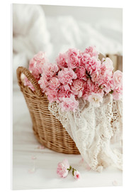 Foam board print  Pink pastel flowers in wicker basket