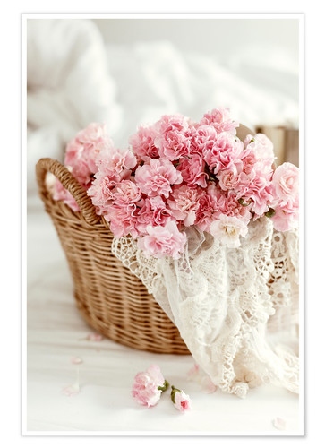 Premium poster Pink pastel flowers in wicker basket