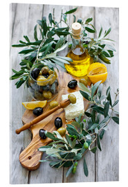 Acrylic print  Green and black olives with bottle of olive oil