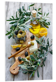 Foam board print  Green and black olives with bottle of olive oil