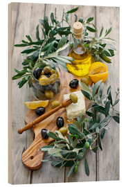 Wood print  Green and black olives with bottle of olive oil