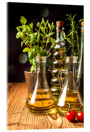 Acrylic glass  Olive oil in bottles
