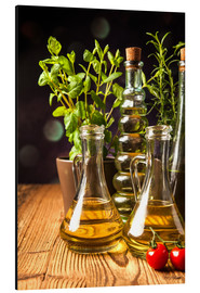 Aluminium print  Olive oil in bottles