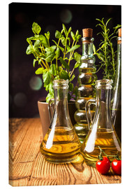 Canvas print  Olive oil in bottles
