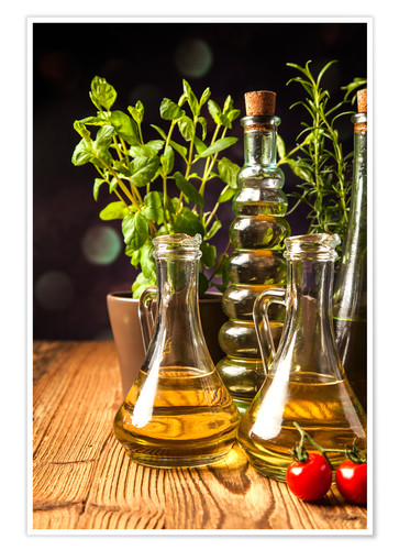 Premium poster Olive oil in bottles