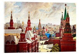 Acrylic glass  Aerial view of the Kremlin in Moscow, Red Square